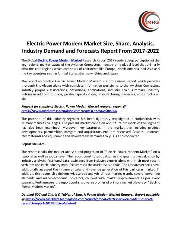 QY Research Groups Electric Power Modem Market Size, Share, Analysis,