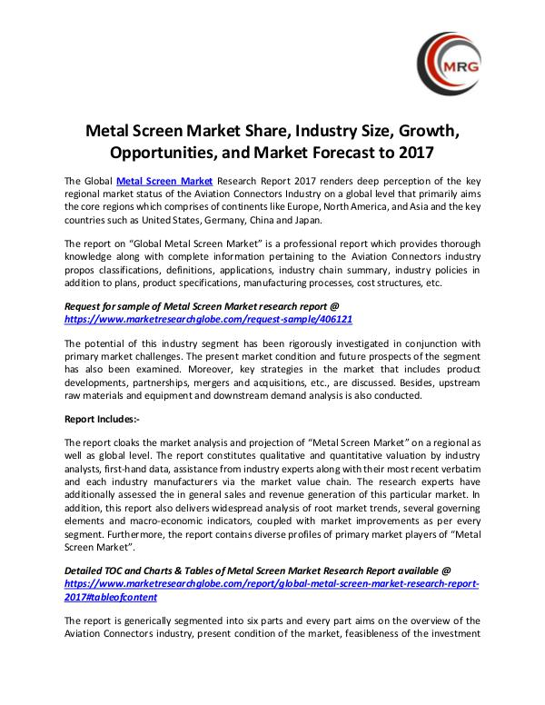 QY Research Groups Metal Screen Market Share, Industry Size, Growth,
