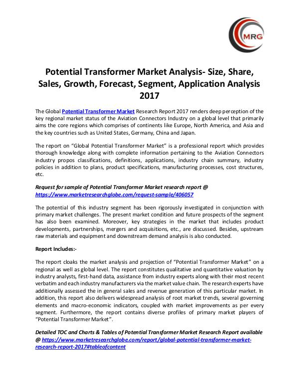 QY Research Groups Potential Transformer Market Analysis- Size, Share