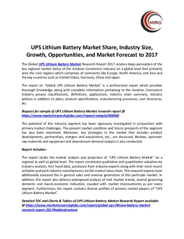 QY Research Groups UPS Lithium Battery Market Share, Industry Size, G