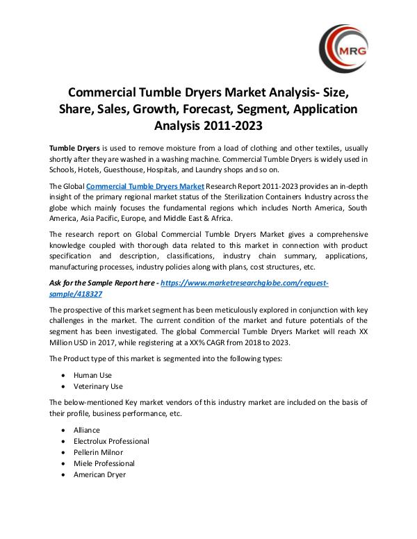 QY Research Groups Commercial Tumble Dryers Market Analysis- Size, Sh