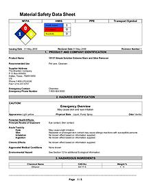 Cleaning & Odour Remover MSDS