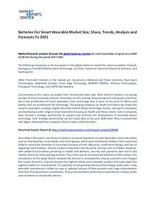 Batteries for Smart Wearables Market Size, Share and Trends