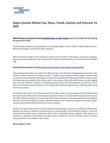Geiger Counter Market By Trends, Driver, Challenge and Forecast