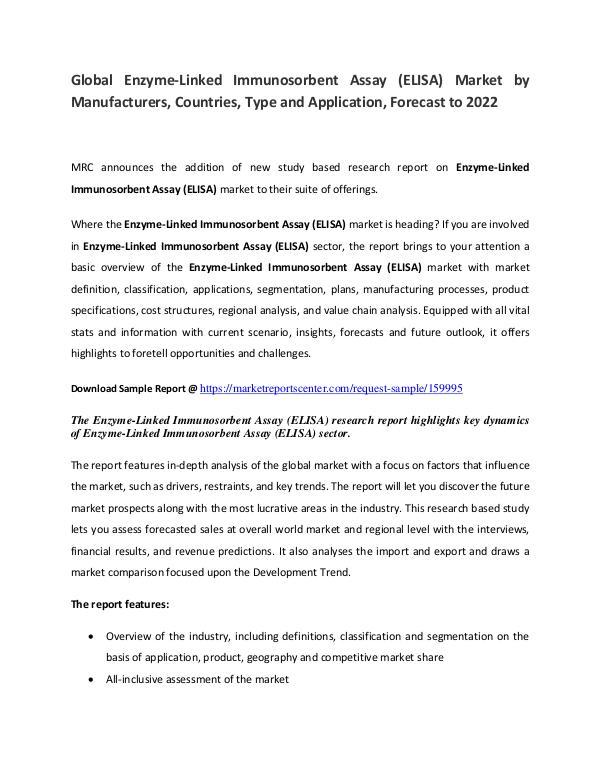 Enzyme-Linked Immunosorbent Assay Market 2017 Enzyme-Linked Immunosorbent Assay Market