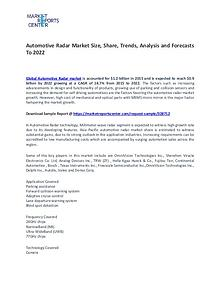 Automotive Radar Market Size, Share, Technology and Forecast