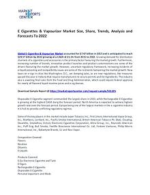 E Cigarettes & Vapourizer Market Trends, Growth, Price and Forecast