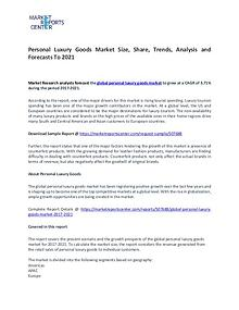 Personal Luxury Goods Market Research Report Analysis To 2021