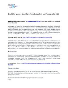 Emulsifier Market Research Report Forecasts To 2021