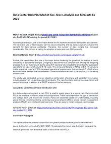 Data Center Rack PDU Market Report Analysis to 2021