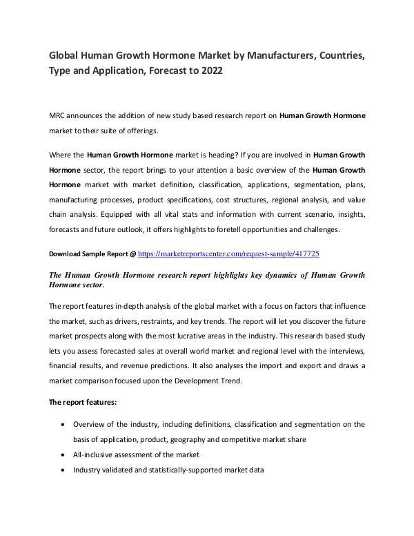 Human Growth Hormone Market Manufacturers, Region and Forecast Human Growth Hormone Market