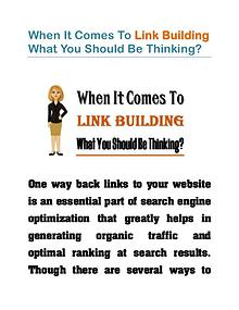 When It Comes To Link Building What You Should Be Thinking?
