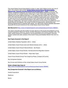 United States Insulin Pump Market Drivers, Inhibitors & Forecast 2022