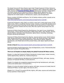 Fractional HP Motor Market Brushed, Brushless Types & Forecasts 2022