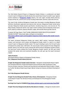 Manganese Dioxide Market Production, Statistics and Forecasts 2020