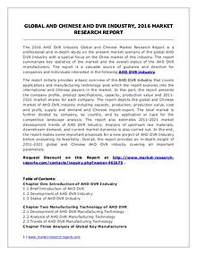 AHD DVR Market Manufacturing Technology and Industry Trends in 2016