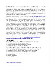 Quantum Cascade Laser Market Analysis and Industry Forecasts to 2020
