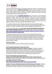 Radiation Dosimeter Market Demand, Status and Forecasts to 2020