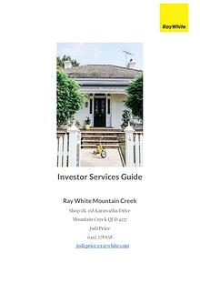 Investor Services Guide Ray White Mountain Creek 2017
