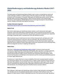 Global Radiosurgery and Radiotherapy Robotics Market Report Outlook