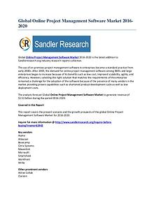 Outlook of Online Project Management Software Market Report by 2020