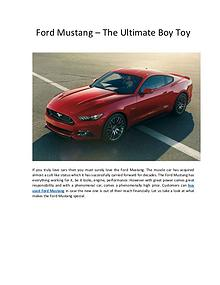 Ford Mustang – The Ultimate Boy Toy
