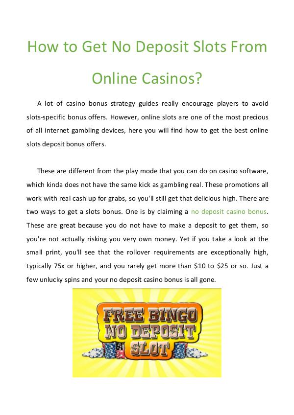 How to Get No Deposit Slots From Online Casinos? How to Get No Deposit Slots From Online Casinos