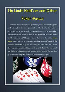 No Limit Hold'em and Other Poker Games
