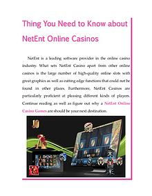 Thing You Need to Know about NetEnt Online Casinos