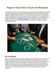 Toppen 7 tips til for å slå på nett Blackjack
