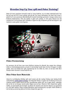 Hvordan Step Up Your spill med Poker Training?