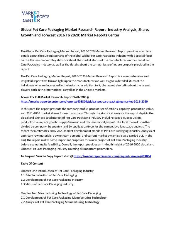 Global Pet Care Packaging Market