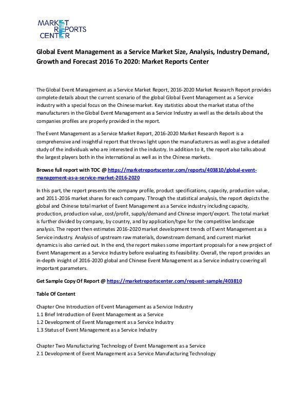 Global Event Management as a Service Market
