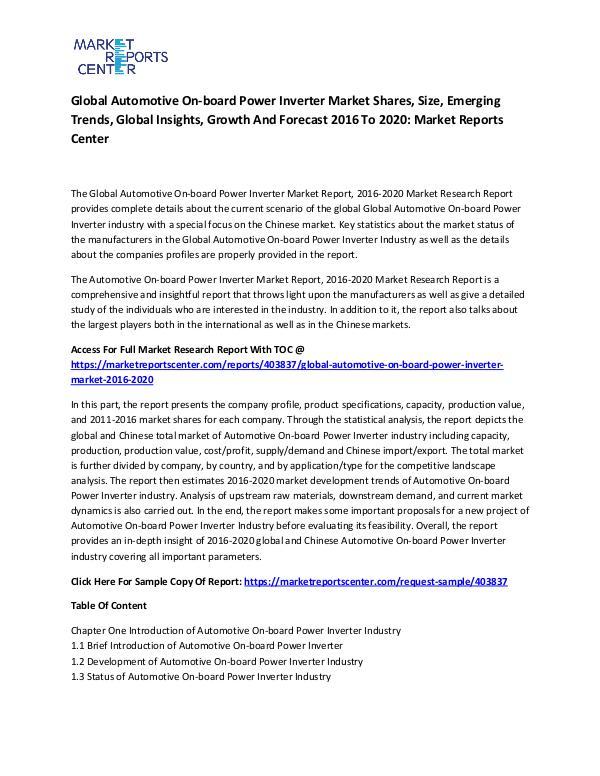 Global Automotive On-board Power Inverter Market