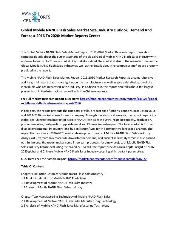 Global Mobile NAND Flash Sales Market