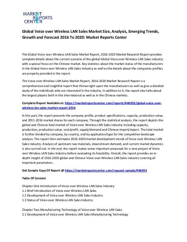 Global Voice over Wireless LAN Sales Market