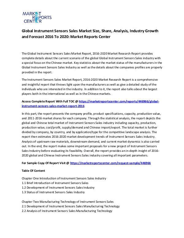 Global Instrument Sensors Sales Market