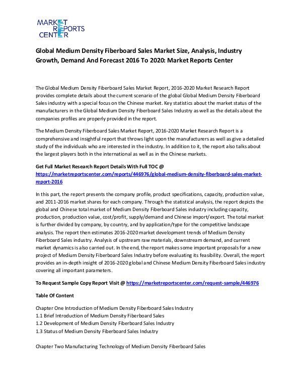 Global Medium Density Fiberboard Sales Market