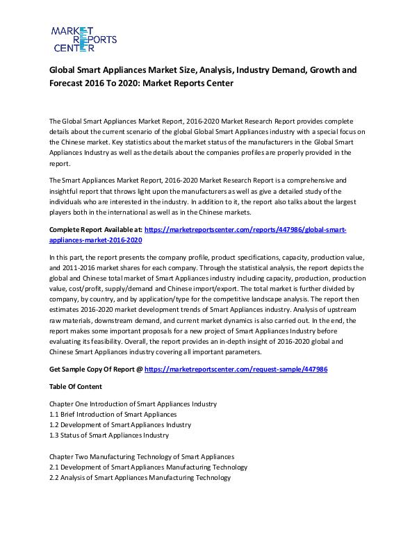Global Smart Appliances Market
