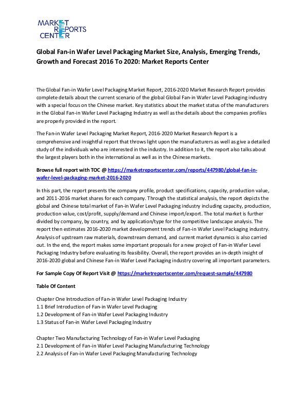 Global Fan-in Wafer Level Packaging Market