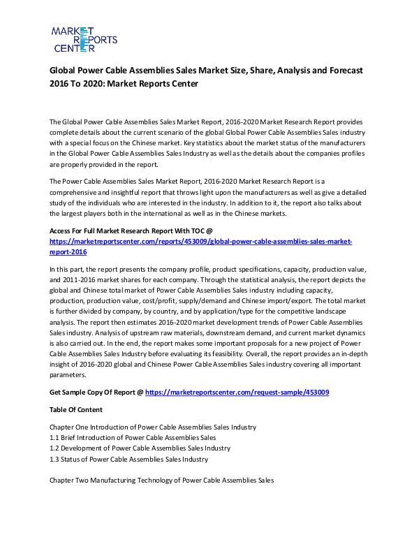 Global Power Cable Assemblies Sales Market