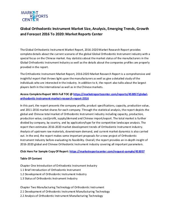 Global Orthodontic Instrument Market