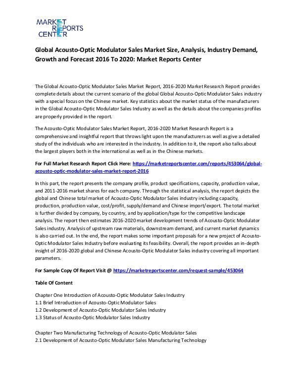Global Acousto-Optic Modulator Sales Market
