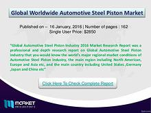Key Factors for Global Automotive Steel Piston