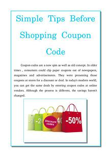 Simple tips before shopping coupon code