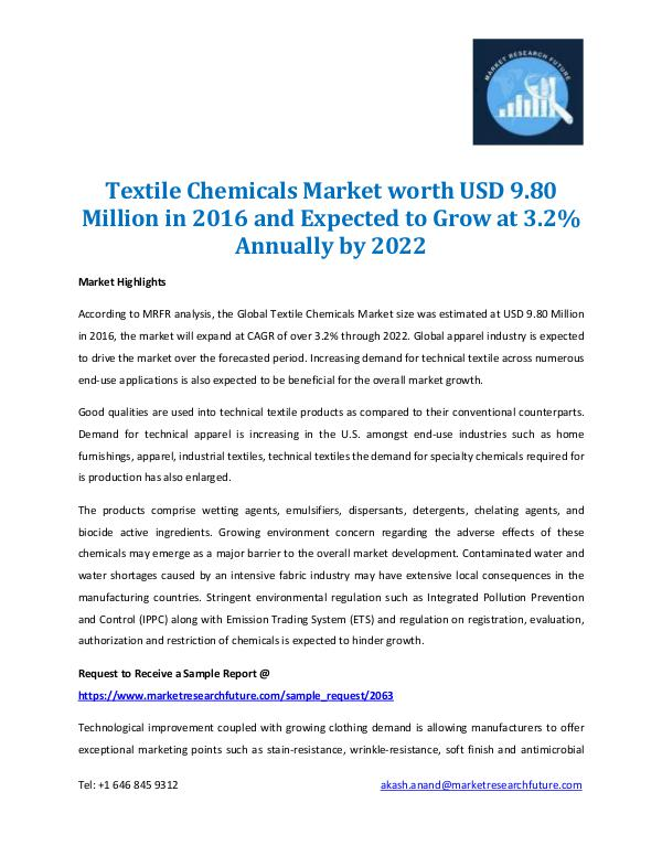 Market Research Future - Premium Research Reports Textile Chemical Market 2022