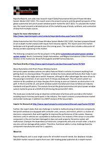 Automotive Anti-pinch Power Window System Market (8.16% CAGR) to 2021