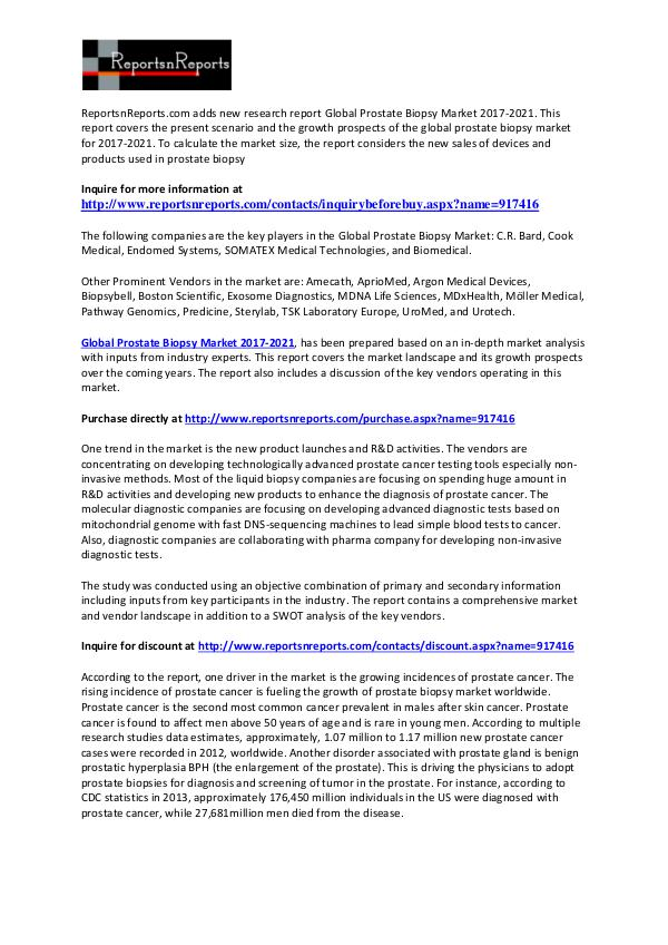 Prostate Biopsy Market Key Vendors Analysis and Forecast Report 2021 February 2017