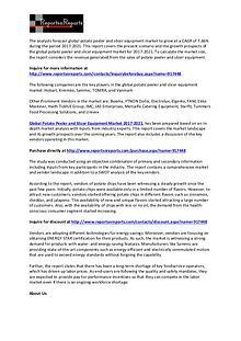 World Potato Peeler and Slicer Equipment Market 2021 Analysis Report