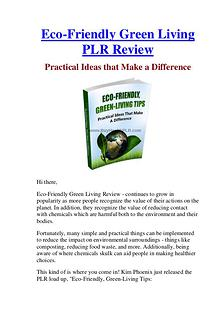 Eco-Friendly Green Living PLR Review & Bonus